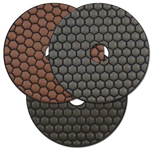 EDW DIADRY Professionele diamantslijppad-set, finish-set, diameter 100 mm, korrel 1500 + korrel 3000 + korrel polijstmachine, slijpen, polijsten, fasebewerking, graniet, natuursteen, marmer, glas