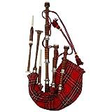 Escocesa Gata Rosewood Acabado Natural Royal Stewart Tartán con Monturas Planas de Plata Libro de Tutor Gratuito, Gaita Canto Cañas