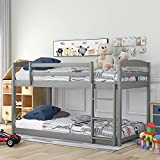 Bunk Beds Twin Over Twin Size, Wood Bunk Beds Low Profile for Kids, Ladders can...