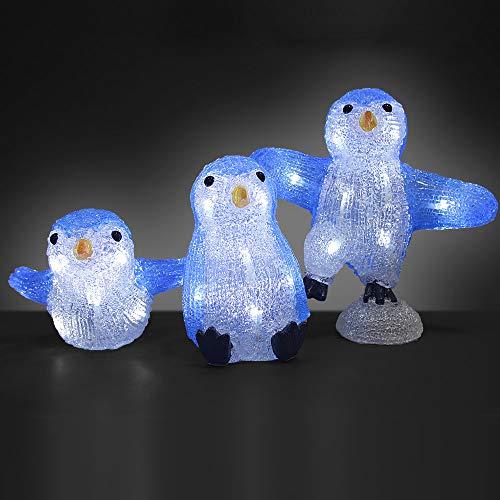 Deuba LED Acryl Figur Weihnachtsdeko Pinguin Familie beleuchtet Weihnachten Deko Indoor Outdoor Weihnachtsfiguren