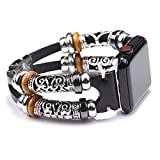 NIGHTCRUZ Compatible with Boho Fancy Apple Watch Band - Multilayer Leather Bracelet Vintage for Apple Watch Series 5/4/3 (2 Straps Black, 38mm/40mm)