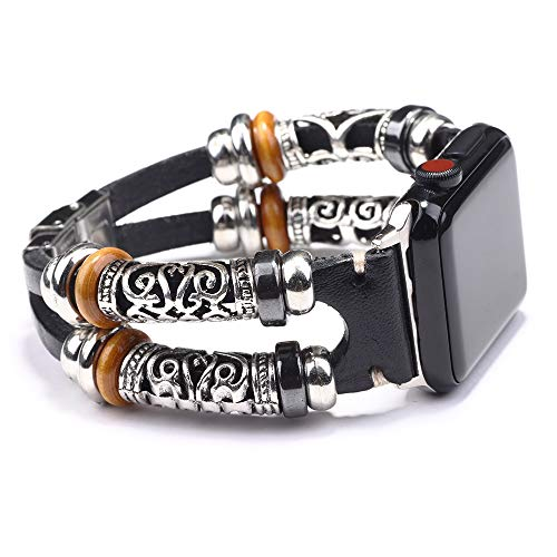 Konafei Compatible with Apple Watch Band 44/42mm 40/38mm iwatch Series 6 5 4 3 2 1 SE, Leather Boho Bracelets Jewelry Multilayer Metal Cuff Retro Strap for Men Women (A-Black, 44/42mm)