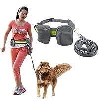 犬 調節可能 リーシュ トラクションロープ 首輪 ウエストポーチ付き 愛犬散歩用 訓練しつけ 丈夫