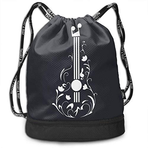 Not Applicable Kordelzug Taschen, Gitarre Tattoo Umhängetaschen Radfahren Kordelzug Rucksack Tasche 39x41x17.5cm