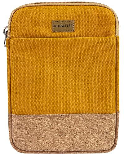 Kuratist eBook Reader Tasche - Handgemacht aus 100prozent Baumwoll-Canvas & Kantenschutz aus Kork, (100prozent vegan) (Curry, 8 Zoll)