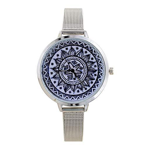 #N/V Reloj creativo de malla retro Gd100B de cuarzo con esfera redonda de lujo y precisión de cuarzo, exquisita mano de obra, porcelana azul y blanca, L: 23 cm