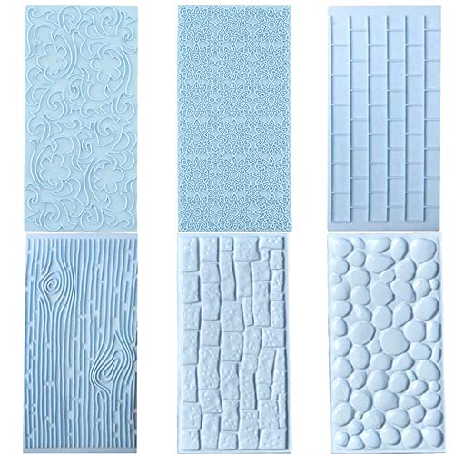 6 Pcs Fondant Impression Texture Mat Mold Set, Light Blue Fondant Embossed Tree Bark/Brick Wall/Flower/Cobblestone/Stone Wall Texture Rolling Pin Design Mold for Chocolate Cupcake Cake
