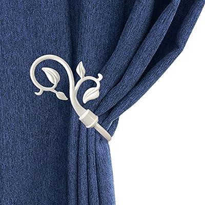 CHICTIE European Leaves Curtain Holdbacks Decorative Wall Hooks Hanger for Drapes Linen Holder Window Treatment Hardware,Set of 2 (White)