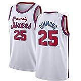 Simmons 25 # Sixers - Camiseta de baloncesto para hombre, edición de fans de verano, malla transpirable, estilo retro, sin mangas (S-XXL)