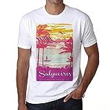 Salgueiros, Escapar al paraíso, Camiseta para Las Hombres, Manga Corta, Cuello Redondo, Blanco