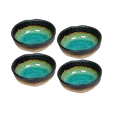 Set of Four Green Kosui Soy Sauce Dipping Bowls 3 1/4 Inch
