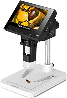 Koolertron 4.3 inch Full Color LCD Digital USB Microscope with 10X-600X Magnification Zoom,8 LED Adjustable Light,Rechargeable Lithium Battery,Micro-SD Storage,Camera Video Recorder
