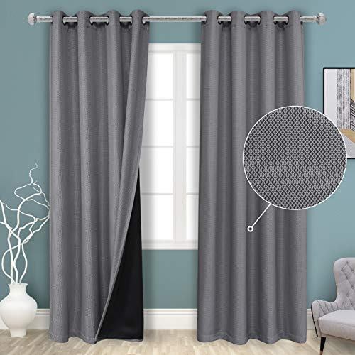 BONZER 100% Blackout Curtains with Thermal Insulated Liner Short Curtains for Kitchen Window, Energy Saving and Sun Light Blocking Cross Grid Textured Grommet Drapes, 50 x 45 Inch, Grey, 2 Panels