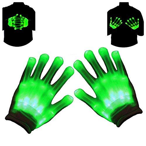 Charlemain LED Handschuhe Kinder grün(5-10Jahre), 3 Modus,Skelett Hand Effekt,leuchtende Handschuhe für Weihnachten, Karneval, Party, Kostüm Beleuchtung, Spielzeug, Geschenk für Mädchen,Junge