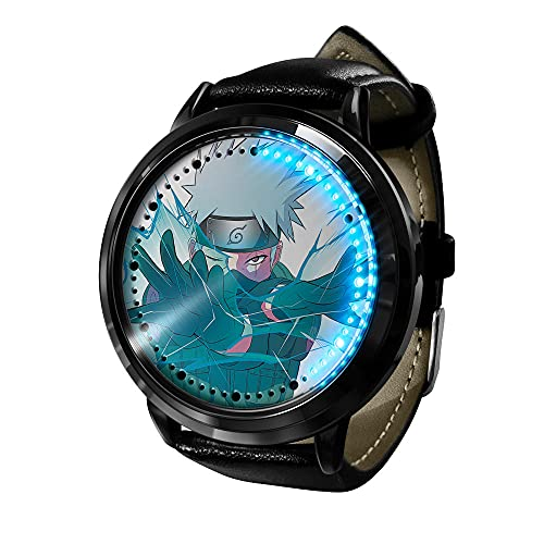 Naruto Anime Watch Kakashi Uchiha Reloj LED Luz Pantalla táctil Impermeable Digital Reloj de Pulsera Unisexo Cosplay Regalo Mejor Regalo para el niño
