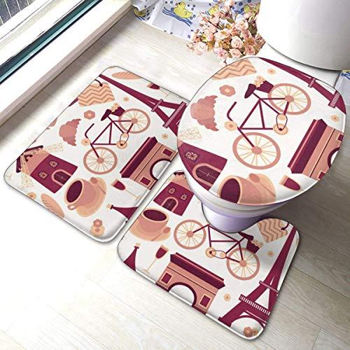 RedBeans Paris Paris Tapis de Bain antidérapant en Flanelle avec Tapis de Bain et Tapis de Bain en Forme de Croissant Café et Housse de siège WC