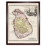 Wee Blue Coo Balda Relandi Map Ceylon Sri Lanka Only Art