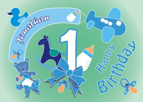 Tortenauflage 1. Geburtstag Boy +Name +Alter, eckig, Babygeburtstag Tortenaufleger Jungen