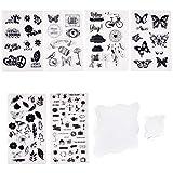 PandaHall Elite 6 hojas de sellos de silicona transparente con símbolo de mariposa y flor con 2 almohadillas de bloques de acrílico cuadrado para hacer tarjetas, álbumes de recortes, fotos