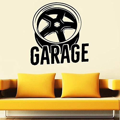 Pegatina de pared de garaje, pegatina de vinilo para pared, rueda, coche, vehículo, servicio, pegatina de pared grande, pegatina de pared, papel tapiz mural A3 42x45cm
