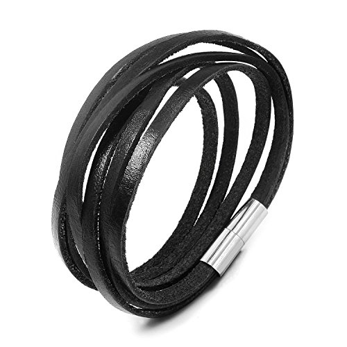 JewelrieShop Monotone Rough Finish Genuine Leather Wrap Magnetic Bracelet Wristband
