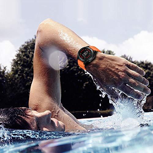 ANBEST Compatible with Fenix 6X/Fenix 5X/Fenix 6X Pro/Fenix 5X Plus with Quick Release Function Silicone Straps 26 mm Sports Watch Strap for Garmin Fenix 3/Fenix 3HR GPS Smart Watch (Orange)