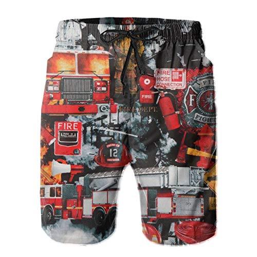 Pantalones cortos para hombre, bomberos, bomberos, bañadores de playa