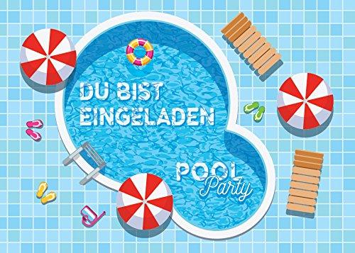 JuNa-Experten 12 Einladungskarten zum Kindergeburtstag Schwimmbad Party / Pool Party / schöne und Bunte Einladungen