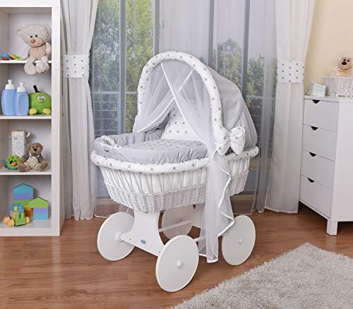 WALDIN Cuna Moisés, carretilla portabebés XXL, 44 colores a elegir,Madera/ruedas lacado en blanco,color textil gris/estrellas-gris
