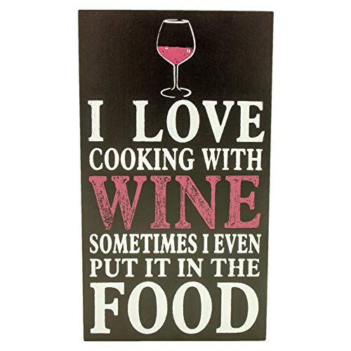 Signature Homestyles Wine Themed Home Decor I Love Cooking with Wine Wall Art