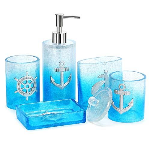 Bathroom Accessories Set, 5 PCS Resin Glass Bath Ensemble