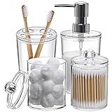 Plastic Clear Bathroom Accessories Set Complete 4 Pcs -...