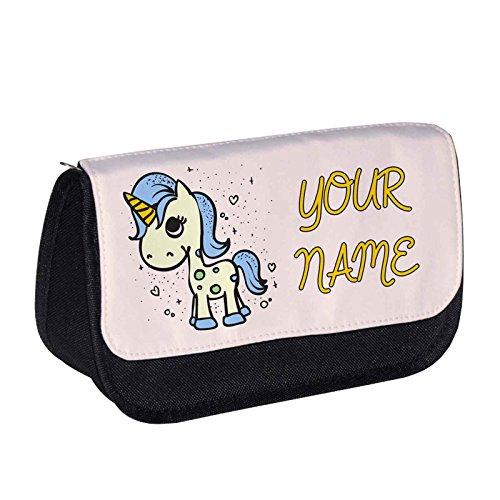 Estuche para lápices con diseño de unicornio, color azul