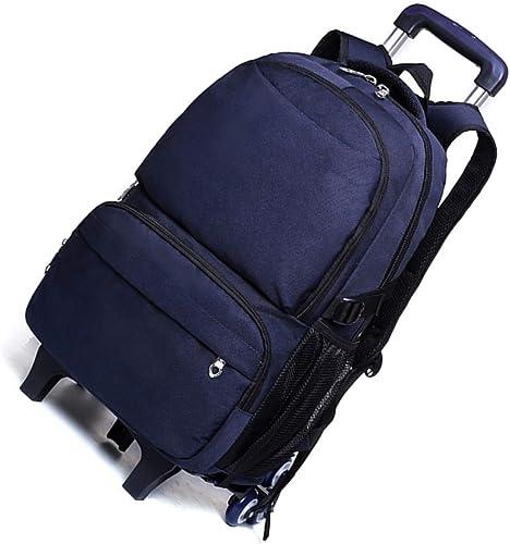 Kinder Unisex Multifunktions Trolley Tasche - Hohe Kapazit Rollendes Büchertasche(Blau 6 R r)
