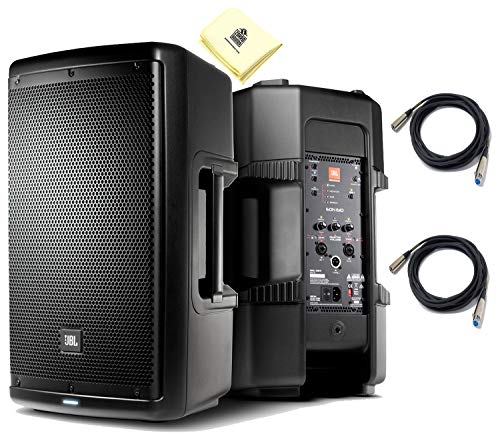 JBL EON610 2-Way 10' Multipurpose Self-Powered Sound Reinforcement Powered Speaker PA Speaker (Pair) with JBL Waveguide Technology & 2 x Senor Microphone Cables & Zorro Sounds Polishing Cloth