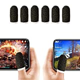 Finger Sleeve, Breathable PUBG Mobile Game Controller Finger Sleeve Touch Screen Finger Cot with Conducting Wire Fiber for Mobile Game, Rules of Survival, for Android iOS Tablet (6 Pack)