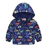 BATKKM Toddler Girls Boys Windbreaker with Hoods Baby Zipper Hooded Coat Windproof Jacket Outfits(C-Navy,5T)
