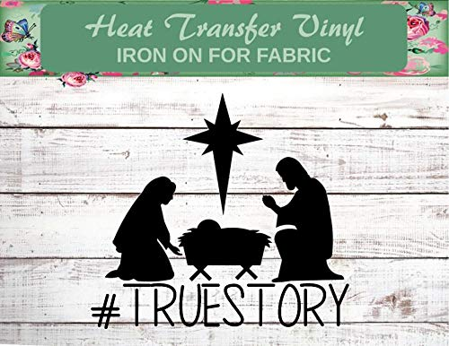 "True Story (5"" Wide Color Black), Nativity Iron On, Christmas Shirt, Nativity Shirt, truestory, Nativity Christmas Shirt, Church Kid, For Unto Us a Child is Born, Nativity Iron On, Christian Shirt,"
