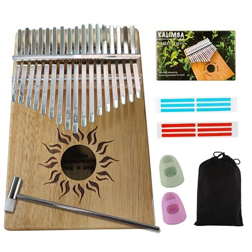 MIRIO Kalimba 17 Keys Thumb Piano with Tune Hammer and Protective Bag, Portable Mbira Finger Piano Gifts for Kids Adults Beginners Professional (Koa Wood)