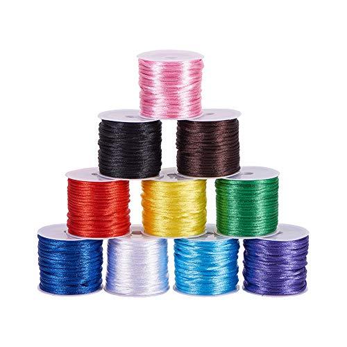 PandaHall 10 colores 2 mm cuerda de rastrillo de satén cordón de seda para pulsera de amistad, nudo chino, macramé, adornos, fabricación de joyas, alrededor de 91 yardas totalmente