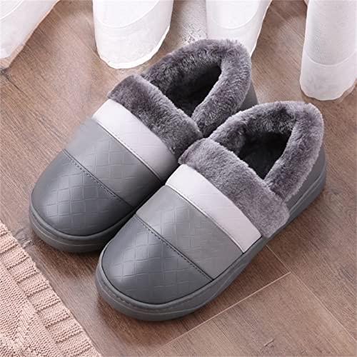 TTFF Zapatillas de para Mujer Hombre Antideslizante,Zapatillas Impermeables Antideslizantes, Zapatos cálidos de algodón de Suela Gruesa,Invierno Hombre Mujer Antideslizante Zapatillas