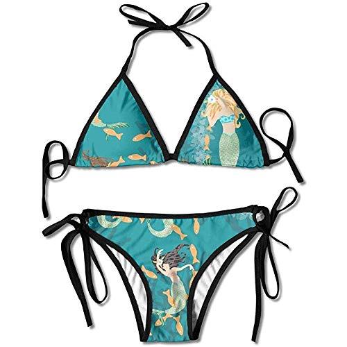 Sdltkhy Badeanzug, verspielte Meerjungfrauen mit Fisch & Koralle Frauen Bikini Set Badeanzug Badeanzug