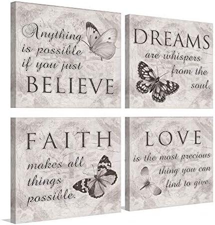 Inspirational Indianapolis Mall Arlington Mall Butterfly Wall Art - Grey 4 Canvas Panels Print