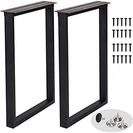 """Metal Table Legs Heavy Duty Square Tube Iron Desk Legs Set of 2 28"""" Height 18"""" Wide Industrial Furniture Legs,Dining Table Legs,Modern Coffee Table Legs"""