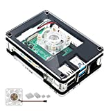 Pastall Acrylic Case for Raspberry Pi 4 Model B, Raspberry Pi 4 Case with Cooling Fan & 4PCS Heatsinks