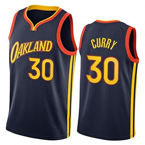 XMYM Curry Basketball-Trikots Für Männer, Krieger Stadtausgabe Sportweste, Komfortable Atmungsaktive Mesh-Sportkleidung Navy Blue-S