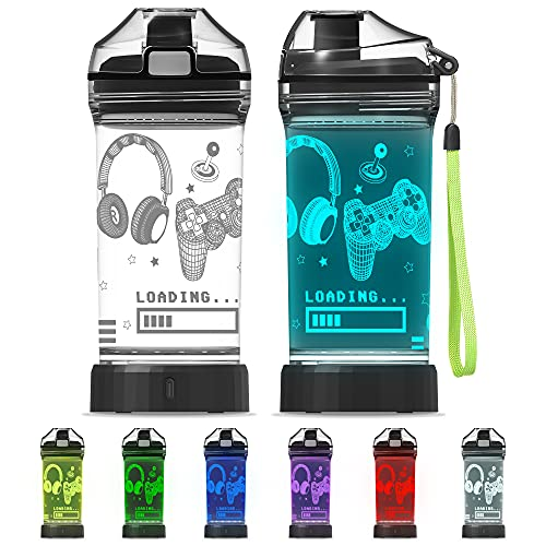 Attivolife Game Glowing Water Bottle, Light Up Kids Cup with 3D Gamepad Control Illusion Lamp-14 OZ Headphone BPA Free Eco-Friendly Creative Gamer Play Gift for Back to School Teen Boy Child Holiday