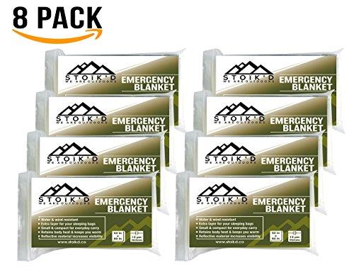 Emergency Blanket - (Pack of 8 Space Blankets) w/ FREE 14-in-1 Credit Card Survival Tool & Survival Blanket eBook - For Survival, Emergency, First Aid Kits, Survival Kit, Car Emergency Kit (Olive)