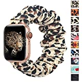 ALNBO Compatible with Apple Watch Band 38mm 40mm Soft Floral Fabric Elastic Scrunchies