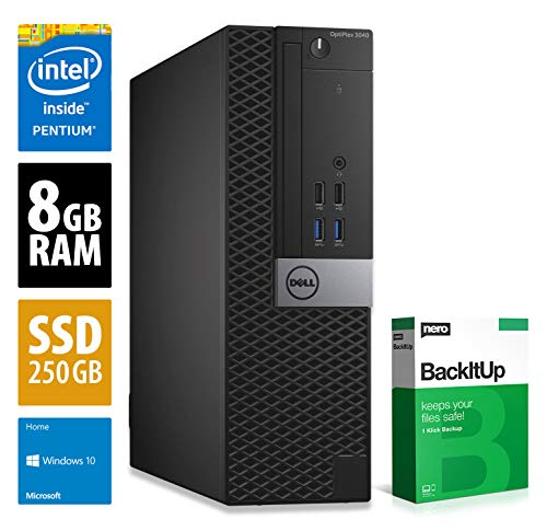 Dell OptiPlex 3040 SFF | PC | Computer | Intel G4400 @ 3,3 GHz | 8GB RAM | 250GB SSD | Windows 10 Home (Zertifiziert und Generalüberholt)
